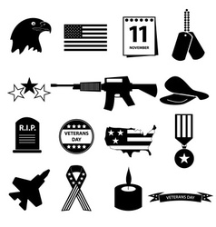 American veterans day celebration icons set eps10 vector