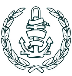 Anchor with Banner and laurel vector image