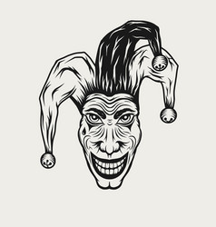 Angry laughing joker vintage engraved vector