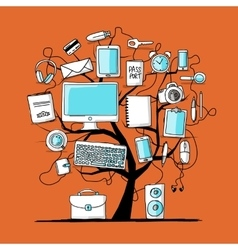 Art tree with digital office devices for your vector