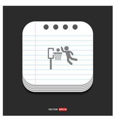 basketball game icon gray icon on notepad style vector image