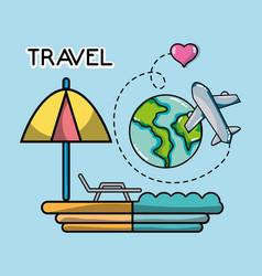 beach world plane tourist vacation travel vector image