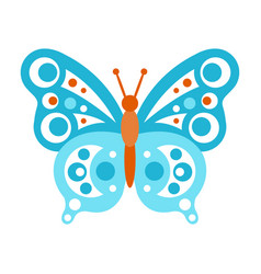 Blue butterfly with open wings vector
