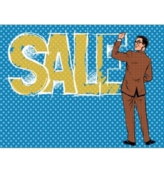 Businessman writing the word sale vector