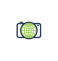 camera globe logo icon design vector image