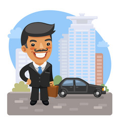cartoon businessman on street vector image