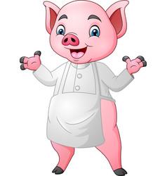 cartoon chef pig cartoon waving hand vector image