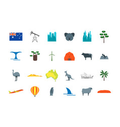 cartoon color australia travel icon set vector image