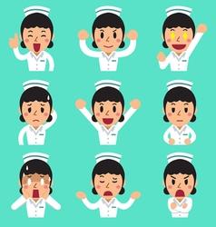 Cartoon female nurse faces showing different vector