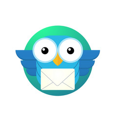 Cartoon owl character with a letter vector