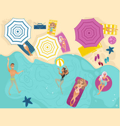 cartoon people in swimming beach vector image
