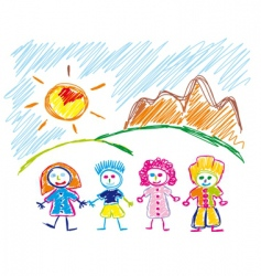 children sketch vector image