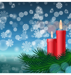 Christmas background with candles and fir tree vector image