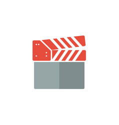 clapperboard flat color icon vector image