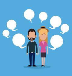 Couple social media bubble speech vector