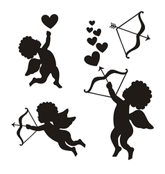 Cupid set over white background vector