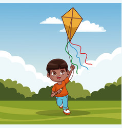 cute boy with kite vector image
