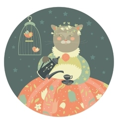 Cute cat with teapot wearing dress vector