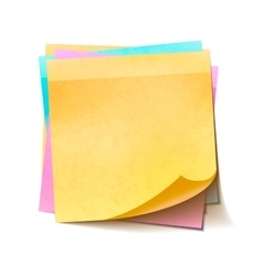 Different colorful sticky notes in pile on white vector