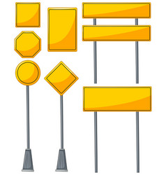 different designs of yellow signs vector image