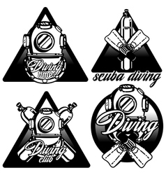 Diving labels set vector image