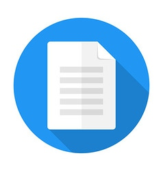 Document flat circle icon with long shadow vector