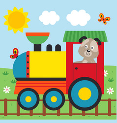 dog on train rides on rails vector image