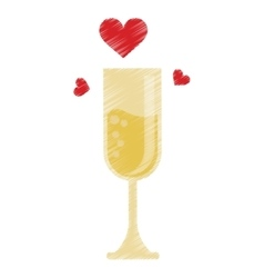 Drawing cup glass champagne love celebration vector