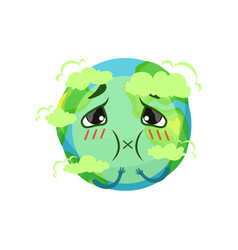Earth planet character suffocating from carbon vector