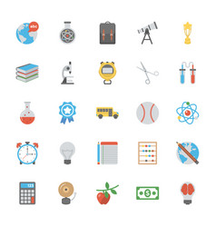 education icons in flat design vector image