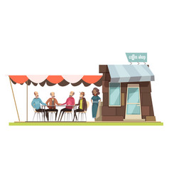 Family in coffee shop design composition vector