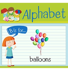 Flashcard letter B is for balloons vector image