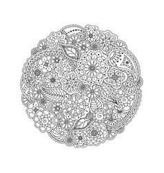 Floral doodle round coloring page book for adults vector