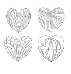 four black and white hearts in a zenart style on vector image