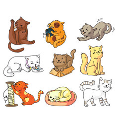 funny cartoon cat set isolated on white background vector image