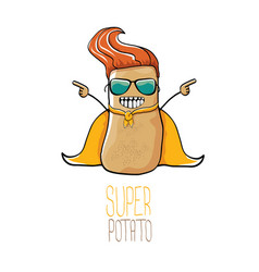 Funny cartoon cute brown super hero potato vector
