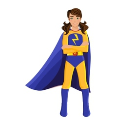 Girl in superhero costume vector