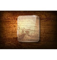 Glass frame on vintage wooden background vector