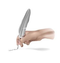 Hand With Writing feather vector image