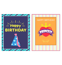 happy birthday princess cards vector image