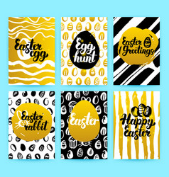 happy easter gold trendy brochures vector image