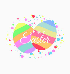 happy easter striped easter eggs on the vector image