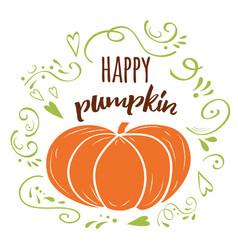 happy pumpkin banner autumn hand drawn design vector image