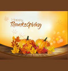 Happy thanksgiving holiday background with autumn vector