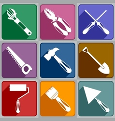Icons of working tools vector image