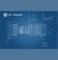 Jet engine industrial blueprint vector