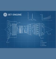 jet engine industrial blueprint vector image