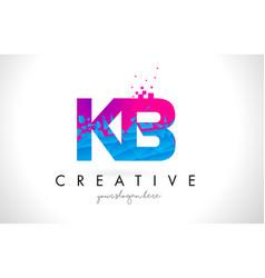 kb k b letter logo with shattered broken blue vector image
