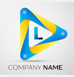 Letter l symbol in the colorful triangle vector