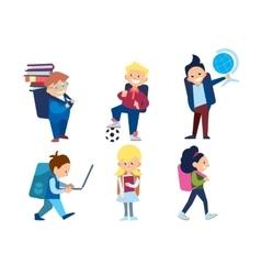 Little Schoolchildren Set vector image